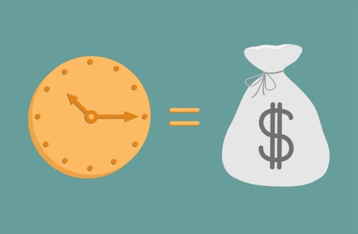 Clock and dollar bag. Icons. Time is money. Vector illustration.