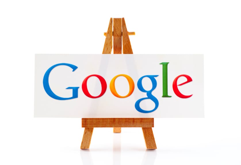 Wooden easel with word Google