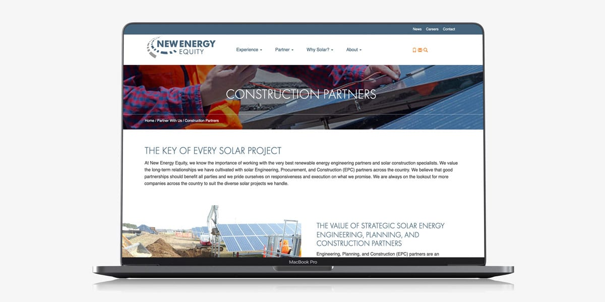 new energy equity website laptop