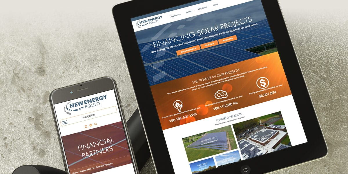 new energy equity website phone tablet