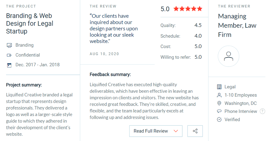 clutch 5 star review liquified creative